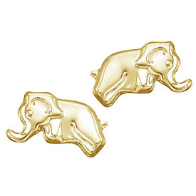 14K Yellow Gold Baby Elephant Screwback Earrings