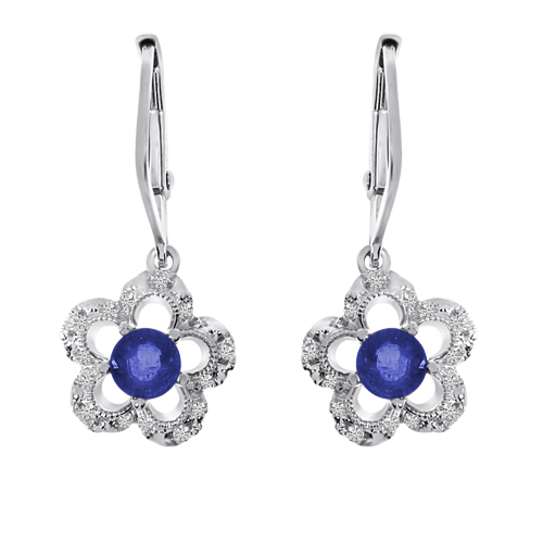 14k White Gold Sapphire and Diamond Flower Leverback Earrings