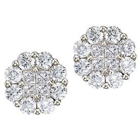 14K White Gold Diamond Clustaire Earrings