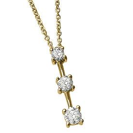 14k Yellow Gold 0.25 Ct Three Stone Diamond Pendant