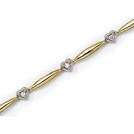 14K Yellow Gold Diamond Heart Bracelet