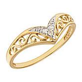 10K Yellow Gold Diamond Chevron Ring