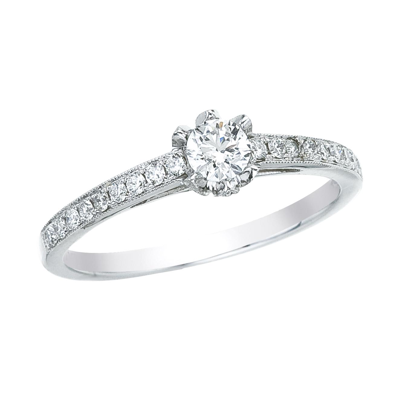 14k White gold Classic Diamond QPID Engagement Ring (0.20 tcw)