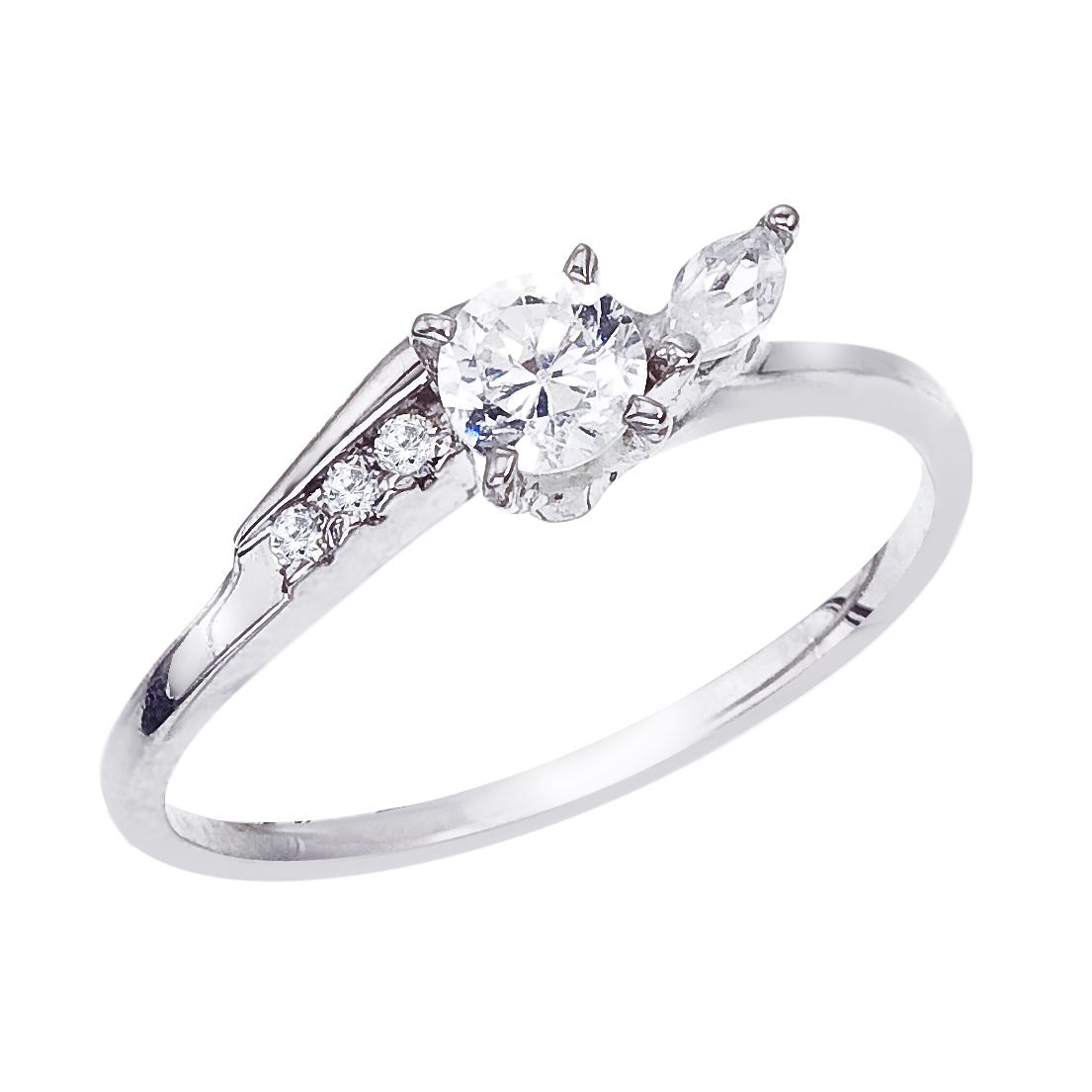 14k White gold Classic Diamond QPID Engagement Ring (0.59 tcw)