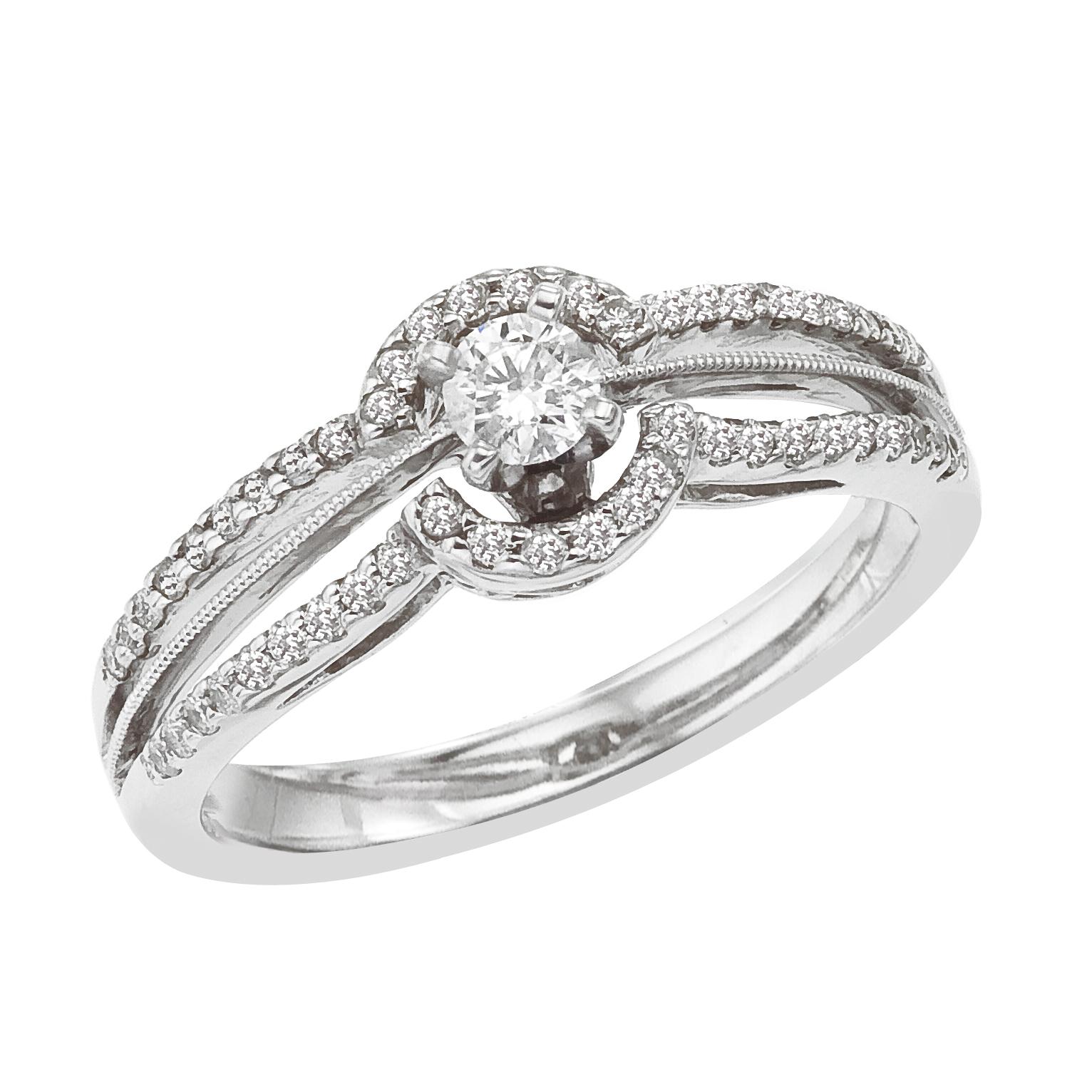 14k White gold Classic Diamond QPID Engagement Ring (0.32 tcw)
