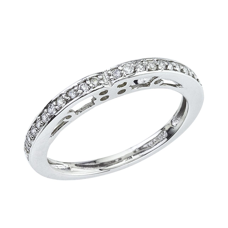 14k White gold Classic Diamond QPID Engagement Ring (0.14 tcw)
