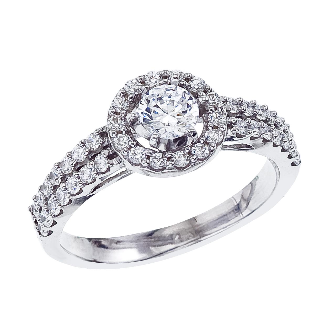 14k White gold Classic Diamond QPID Engagement Ring (0.19 tcw)
