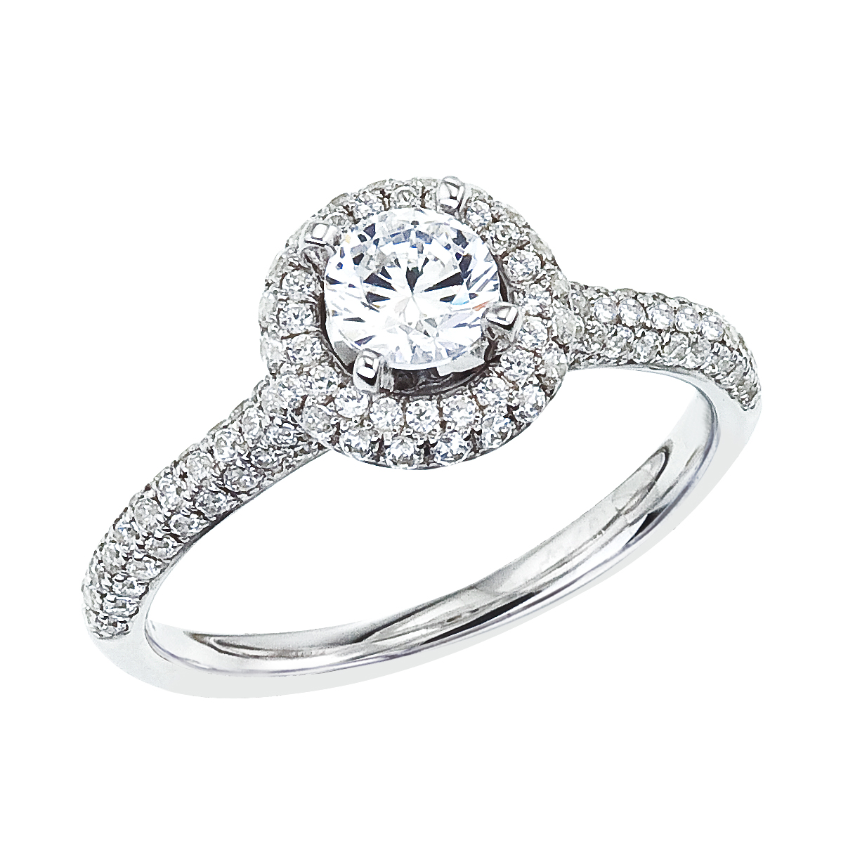 14k White gold Classic Diamond QPID Engagement Ring (0.85 tcw)