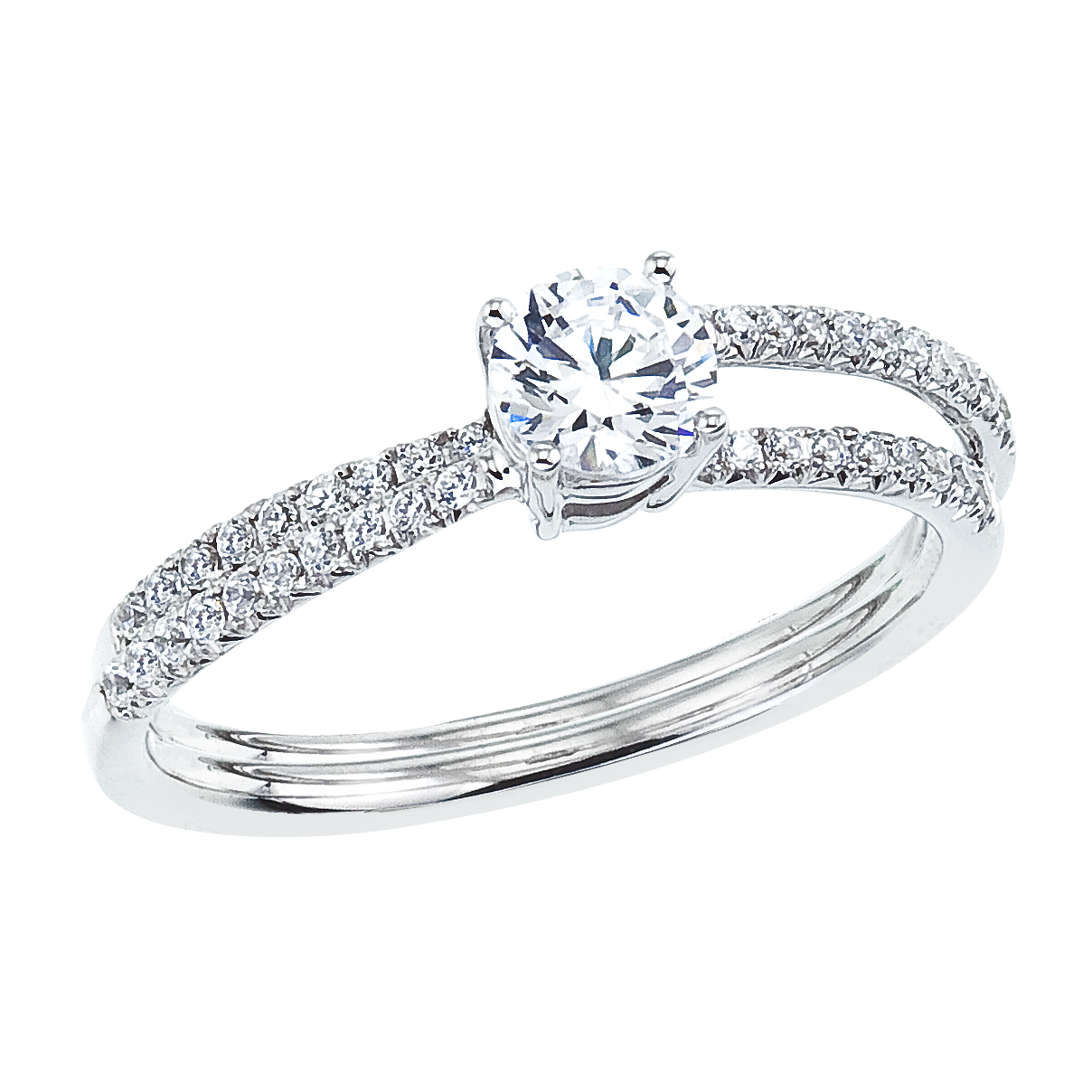 14k White gold Crossover Diamond QPID Engagement Ring (0.55 tcw)