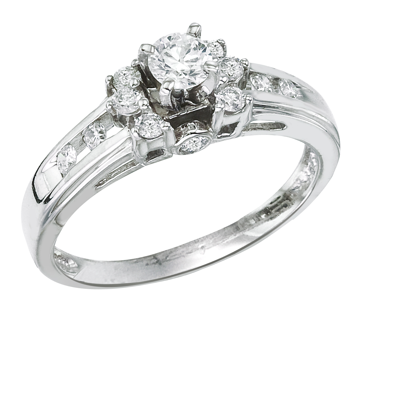 14k White gold Classic Diamond QPID Engagement Ring (0.24 tcw)