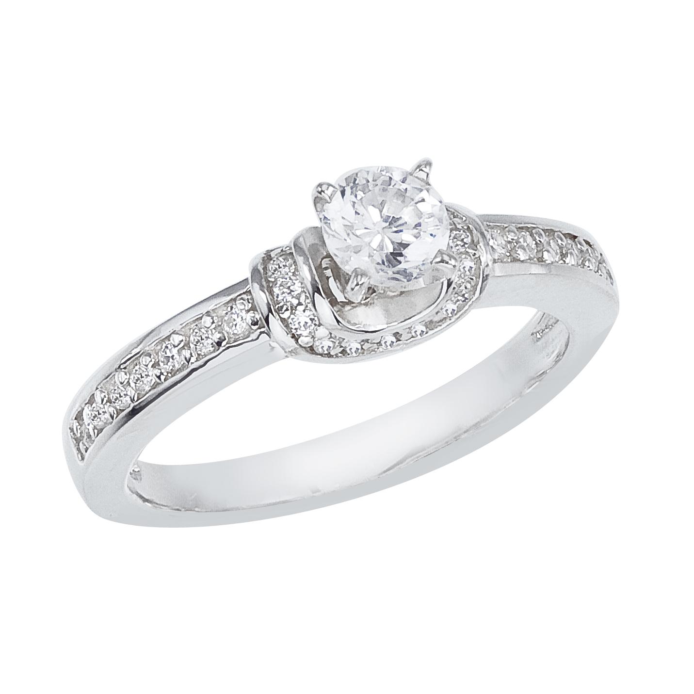 14k White gold Classic Diamond QPID Engagement Ring (0.44 tcw)
