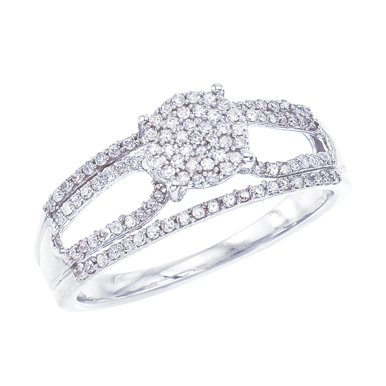 14k White gold Classic Diamond QPID Engagement Ring (0.60 tcw)