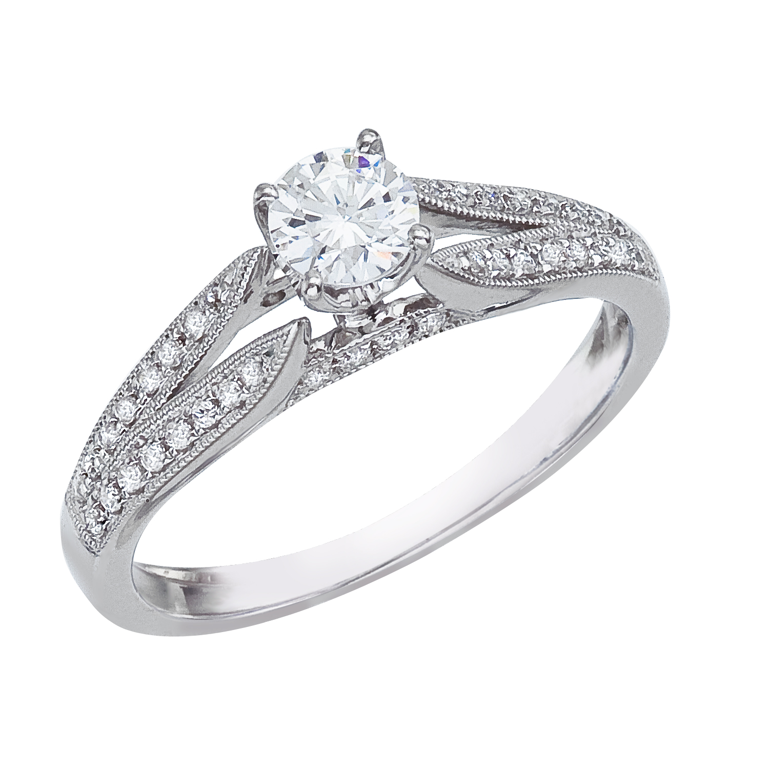 14k White gold Princess Diamond QPID Engagement Ring (0.47 tcw)