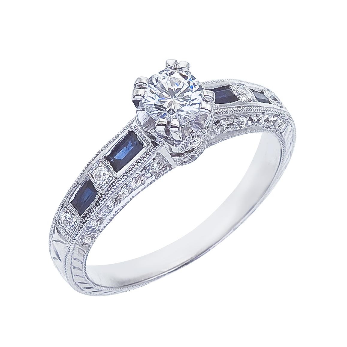 14k White gold Classic Diamond QPID Engagement Ring (0.47 tcw)