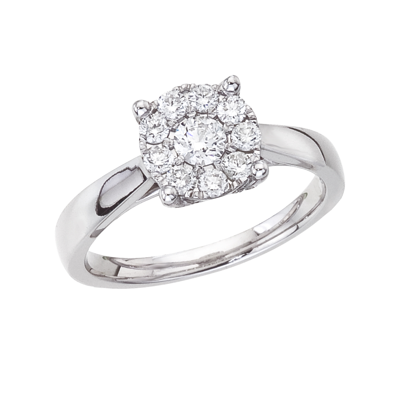 14k White gold Classic Diamond QPID Engagement Ring (0.45 tcw)