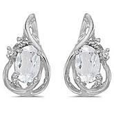 14k White Gold Oval White Topaz And Diamond Teardrop Earrings