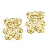 14K Yellow Gold Baby Bear Screwback Earrings