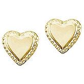 14K Yellow Gold Baby Heart Screwback Earrings