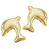14K Yellow Gold Baby Dolphin Screwback Earrings