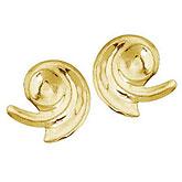14K Yellow Gold Baby Swirl Screwback Earrings