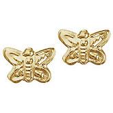 14K Yellow Gold Baby Butterfly Screwback Earrings