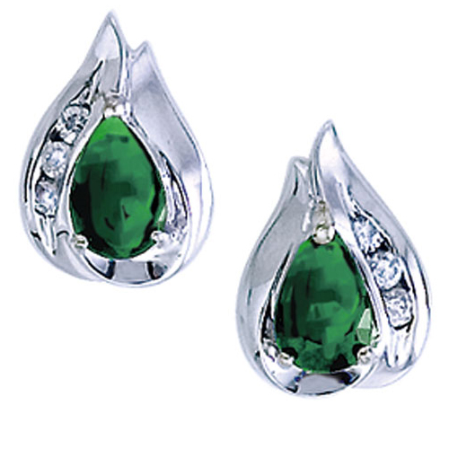 14k White Gold Pear Emerald And Diamond Earrings