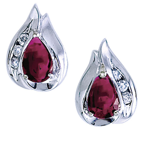 14k White Gold Pear Ruby And Diamond Earrings