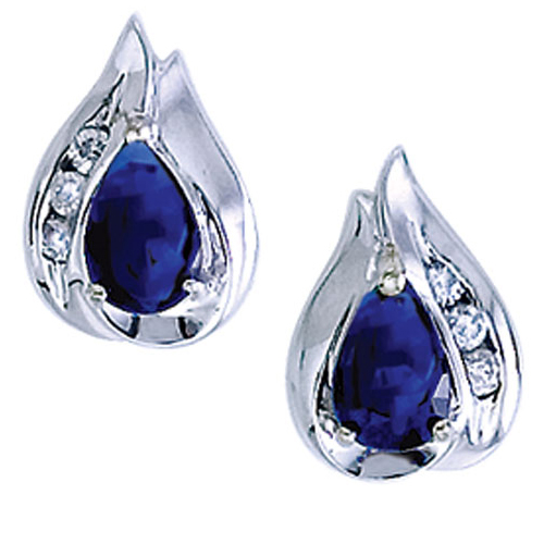 14k White Gold Pear Sapphire And Diamond Earrings