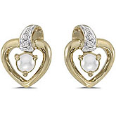 10k Yellow Gold Pearl And Diamond Heart Earrings
