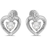 10k White Gold Pearl And Diamond Heart Earrings