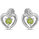 10k White Gold Round Peridot And Diamond Heart Earrings