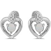 10k White Gold Round Opal And Diamond Heart Earrings
