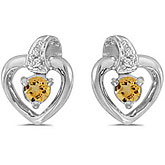 10k White Gold Round Citrine And Diamond Heart Earrings