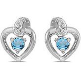 10k White Gold Round Blue Topaz And Diamond Heart Earrings