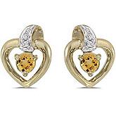 14k Yellow Gold Round Citrine And Diamond Heart Earrings