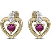 14k Yellow Gold Round Rhodolite Garnet And Diamond Heart Earrings
