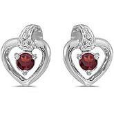 14k White Gold Round Garnet And Diamond Heart Earrings