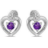 14k White Gold Round Amethyst And Diamond Heart Earrings