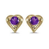 14k Yellow Gold Round Amethyst Heart Earrings