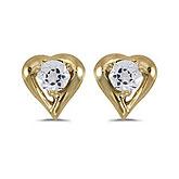14k Yellow Gold Round White Topaz Heart Earrings