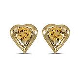 14k Yellow Gold Round Citrine Heart Earrings