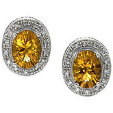 14K White Gold 8x6 Oval Citrine and Diamond Earrings
