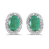 14k White Gold Oval Emerald And Diamond Earrings