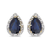 14k Yellow Gold Pear Sapphire And Diamond Earrings