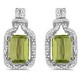 14k White Gold Emerald-cut Peridot And Diamond Earrings