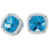 14K White Gold 7mm Cushion Blue Topaz and Diamond Earrings