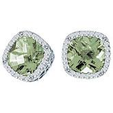 14K White Gold 7mm Cushion Green Amethyst and Diamond Earrings