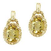 14K Yellow Gold 8x6 Oval Lemon Quartz and Diamond Earrings