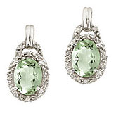 14K White Gold 8x6 Oval Green Amethyst and Diamond Earrings