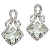 14K White Gold Green Amethyst and Diamond Earrings
